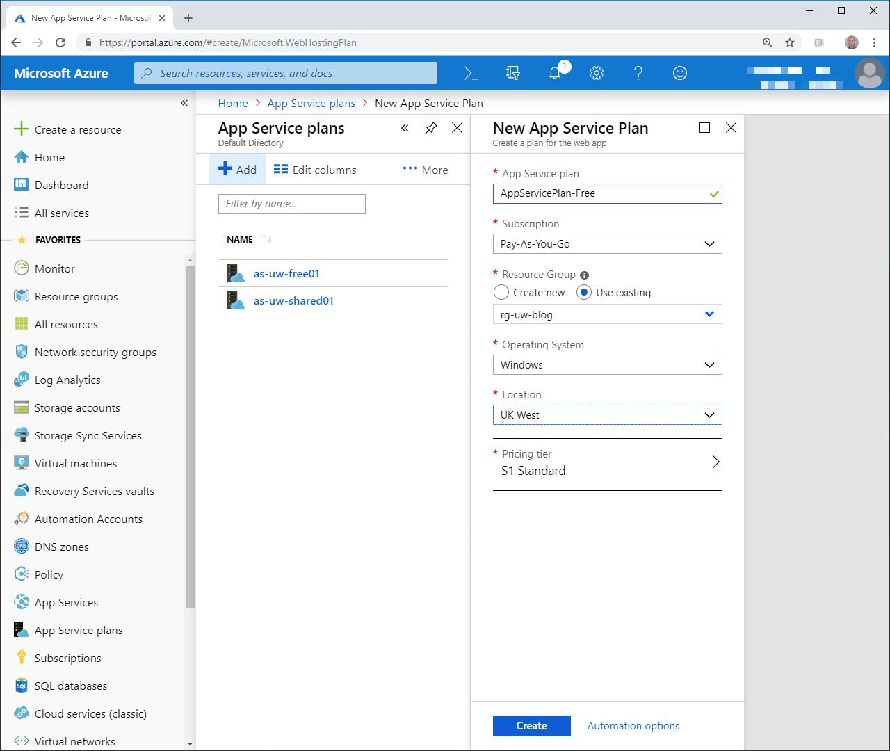 App Service Plan Config
