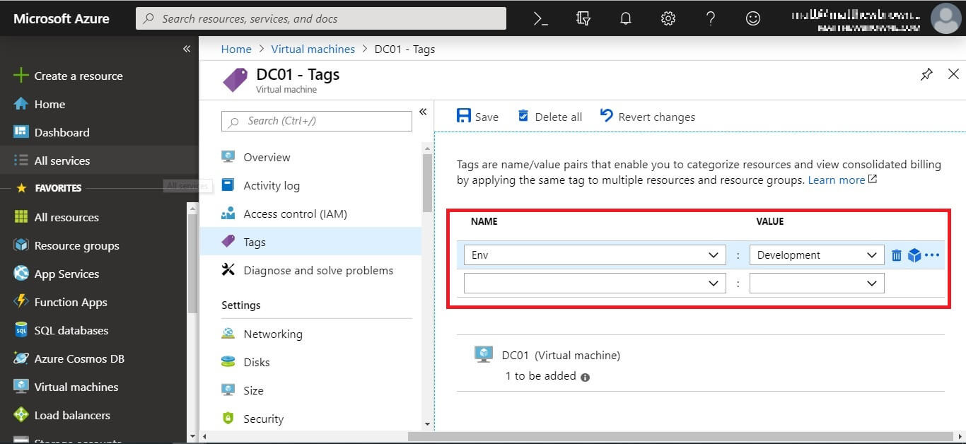Tags in the Azure Console